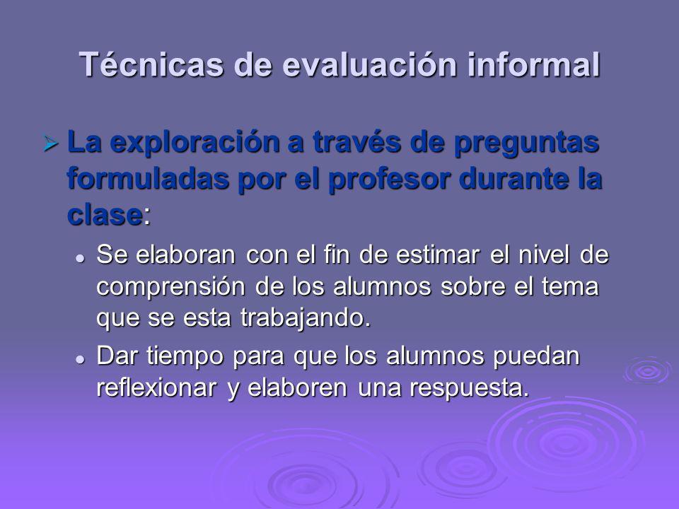 Técnicas de evaluación informal