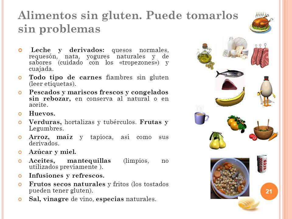 Alimentos sin gluten. Puede tomarlos sin problemas