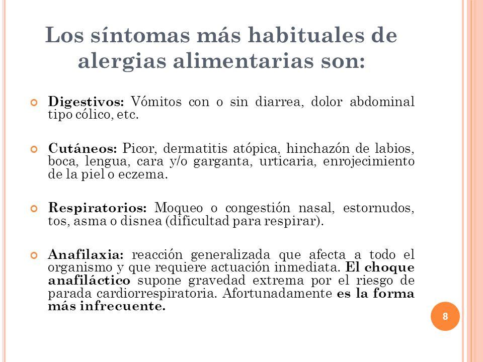 Los síntomas más habituales de alergias alimentarias son: