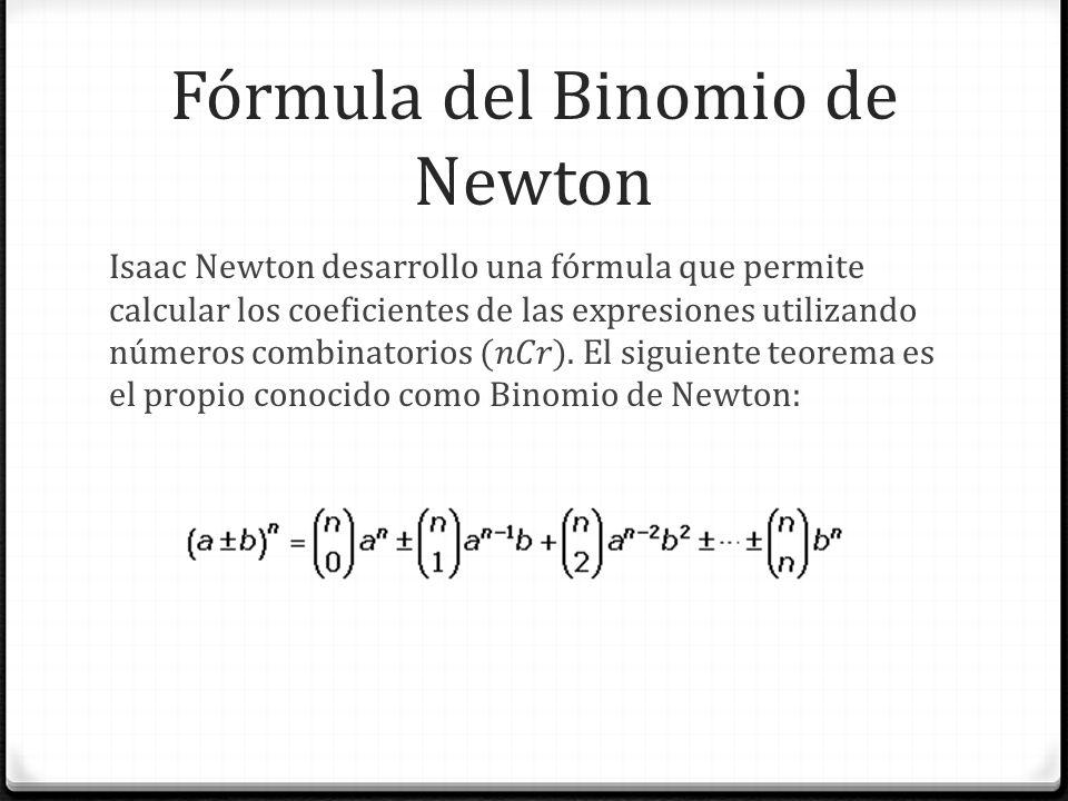 Fórmula del Binomio de Newton