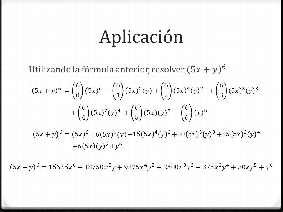 Aplicación Utilizando la fórmula anterior, resolver 5𝑥+𝑦 6 = 6 0 5𝑥 6