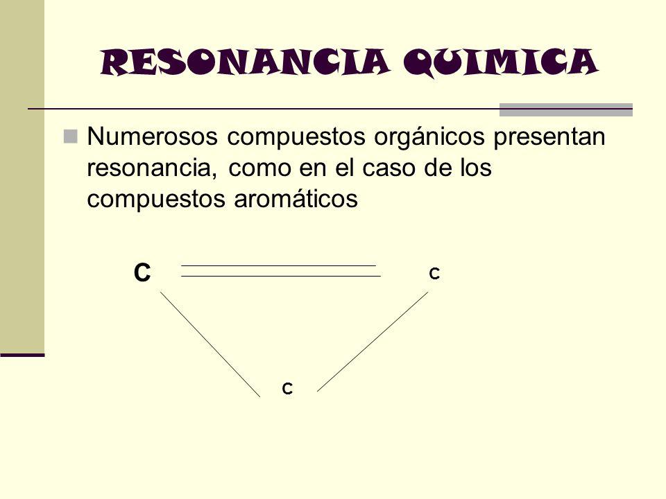 RESONANCIA QUIMICA. Numerosos compuestos orgánicos presentan resonancia, como en el caso de los compuestos aromáticos.