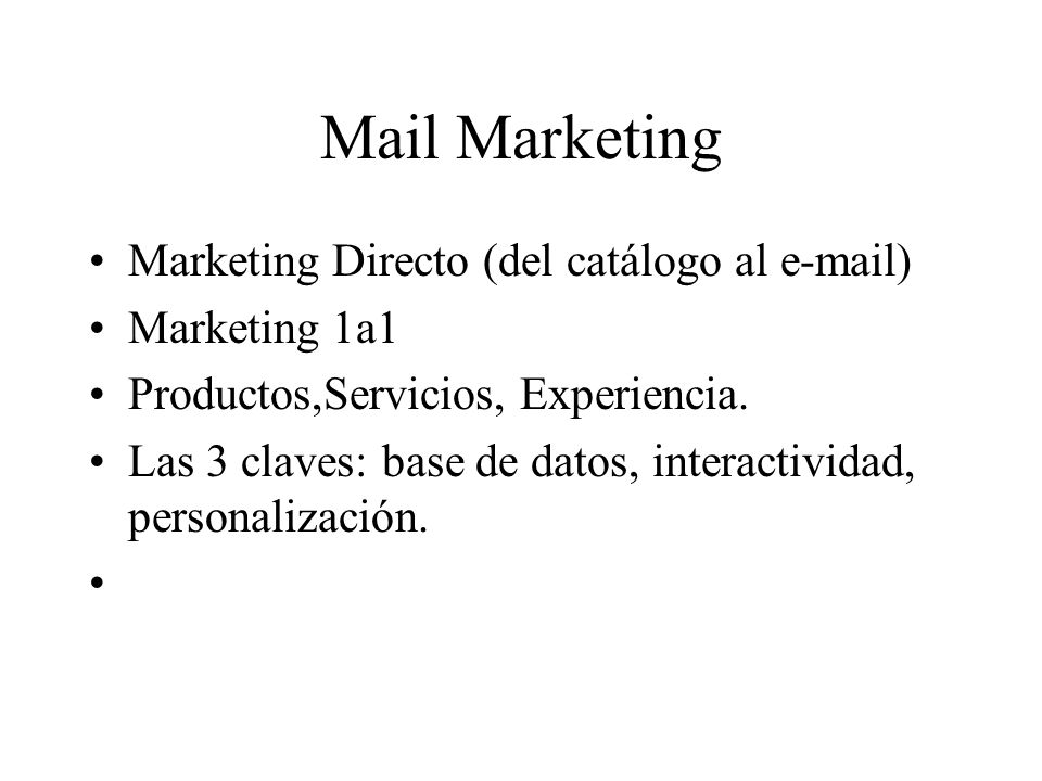 Mail Marketing Marketing Directo (del catálogo al  )