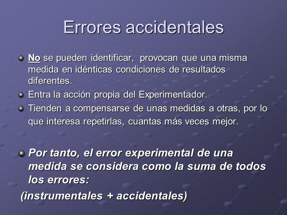 Errores accidentalesNo se pueden identificar, provocan que una misma medida en idénticas condiciones de resultados diferentes.