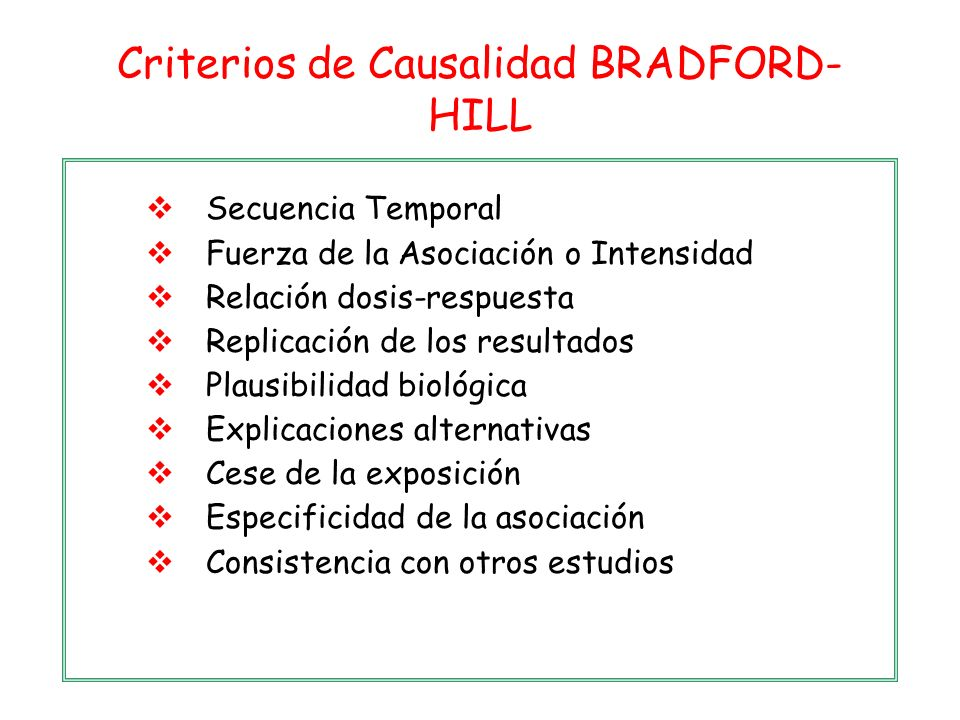 Criterios de Causalidad BRADFORD-HILL