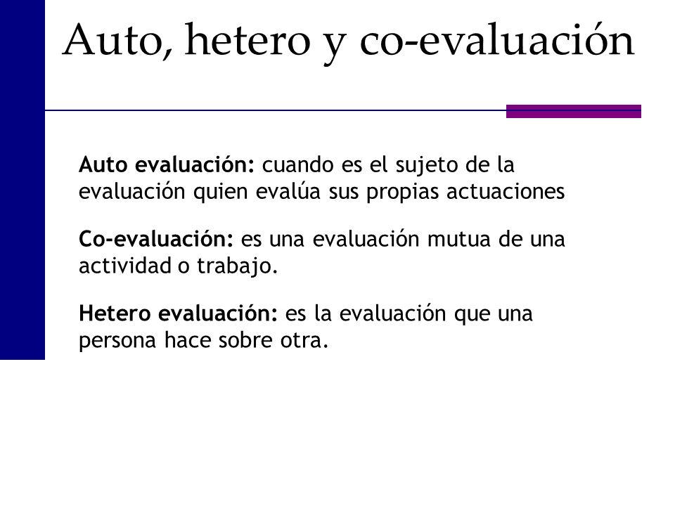 Auto, hetero y co-evaluación