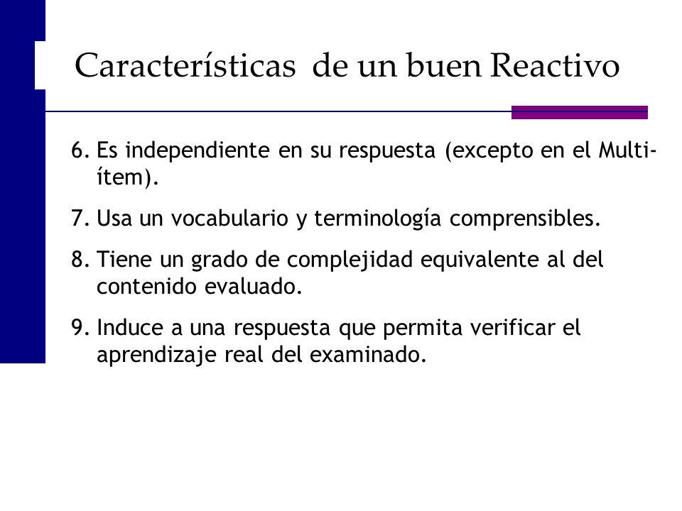 Características de un buen Reactivo
