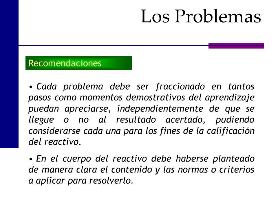 Los Problemas Recomendaciones