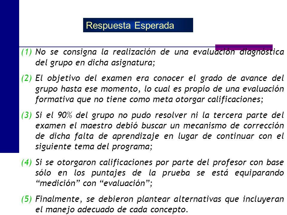 Respuesta Esperada No se consigna la realización de una evaluación diagnóstica del grupo en dicha asignatura;