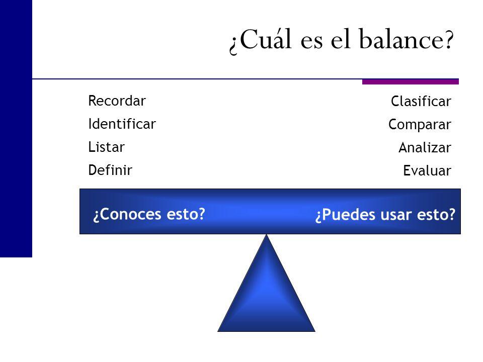 ¿Cuál es el balance ¿Conoces esto ¿Puedes usar esto Recordar