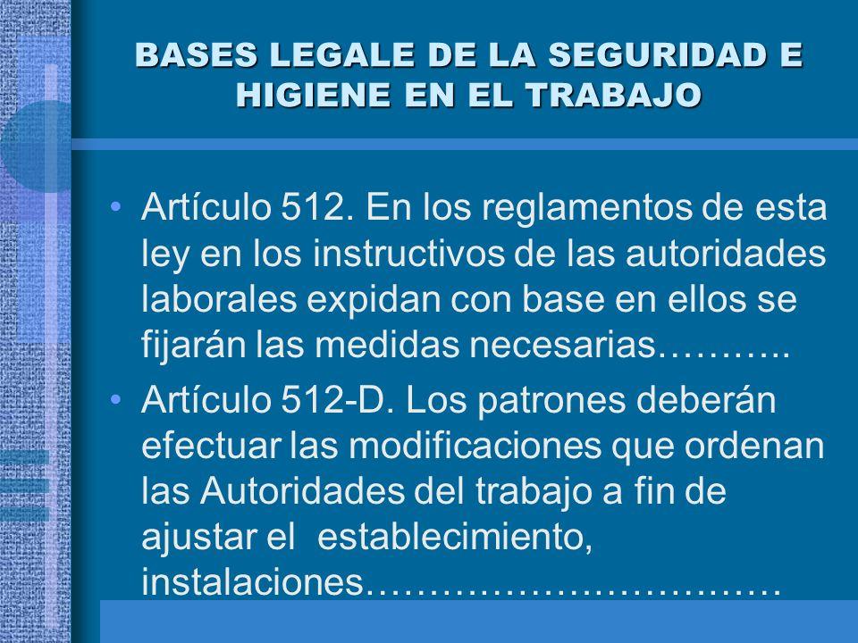 BASES LEGALE DE LA SEGURIDAD E HIGIENE EN EL TRABAJO