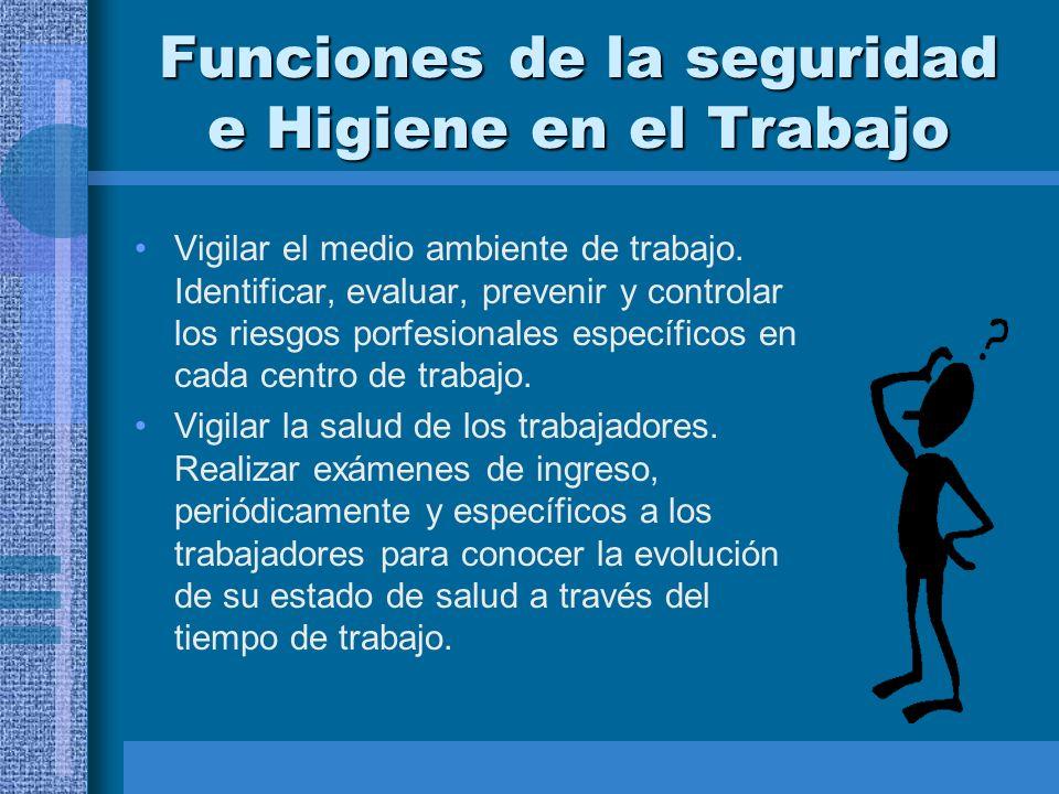Funciones de la seguridad e Higiene en el Trabajo