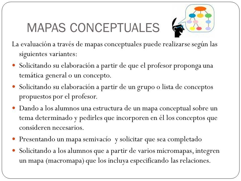 MAPAS CONCEPTUALES La evaluación a través de mapas conceptuales puede realizarse según las siguientes variantes: