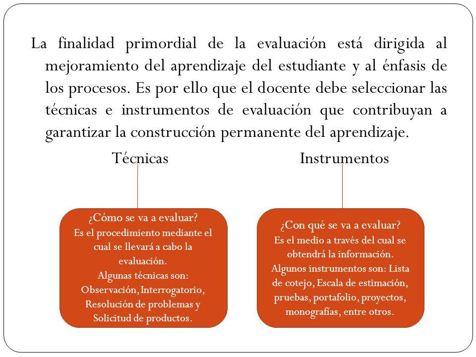 La finalidad primordial de la evaluación está dirigida al mejoramiento del aprendizaje del estudiante y al énfasis de los procesos. Es por ello que el docente debe seleccionar las técnicas e instrumentos de evaluación que contribuyan a garantizar la construcción permanente del aprendizaje. Técnicas Instrumentos