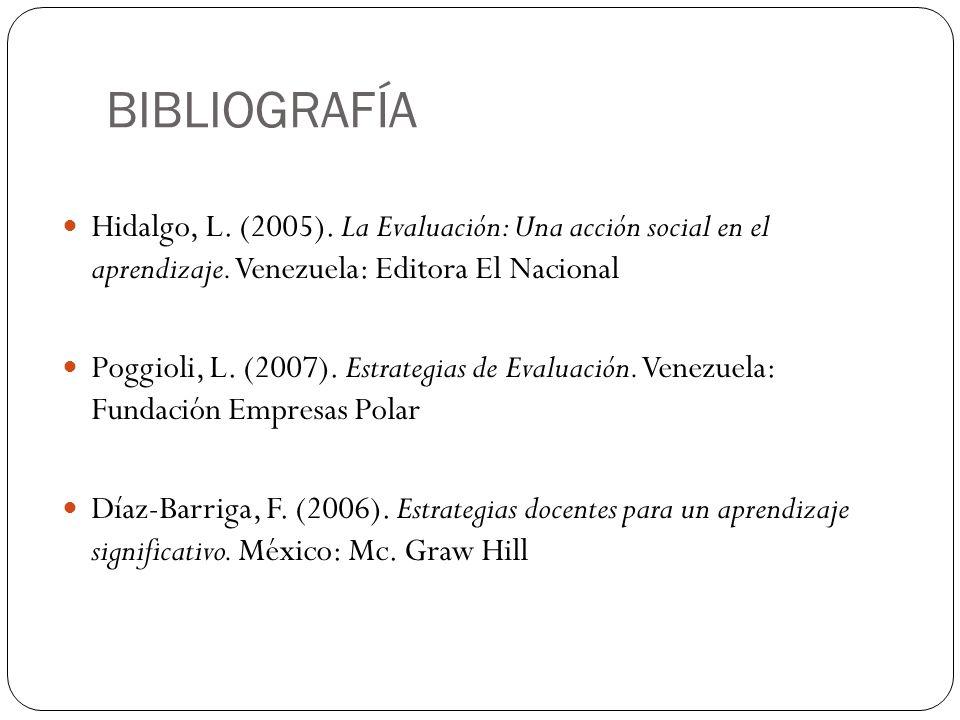 BIBLIOGRAFÍA Hidalgo, L. (2005). La Evaluación: Una acción social en el aprendizaje. Venezuela: Editora El Nacional.