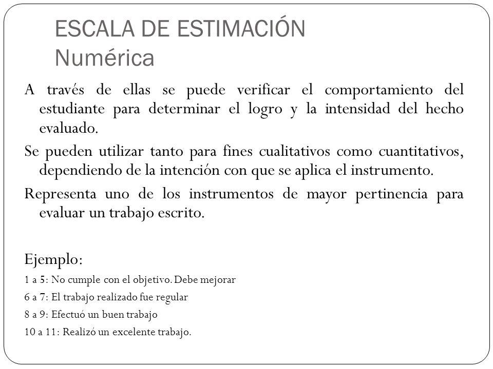 ESCALA DE ESTIMACIÓN Numérica