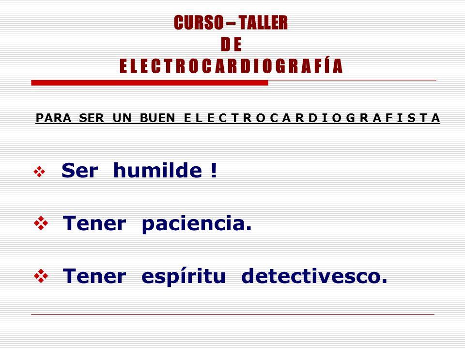 CURSO – TALLER D E E L E C T R O C A R D I O G R A F Í A