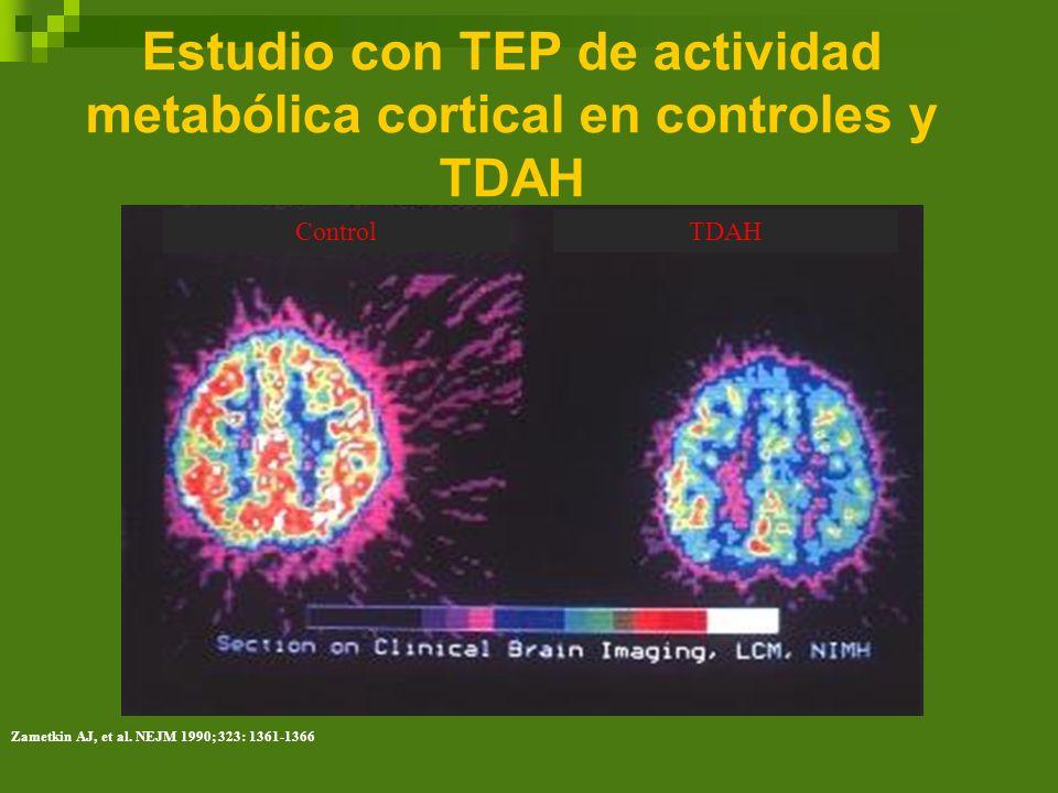 Estudio con TEP de actividad metabólica cortical en controles y TDAH