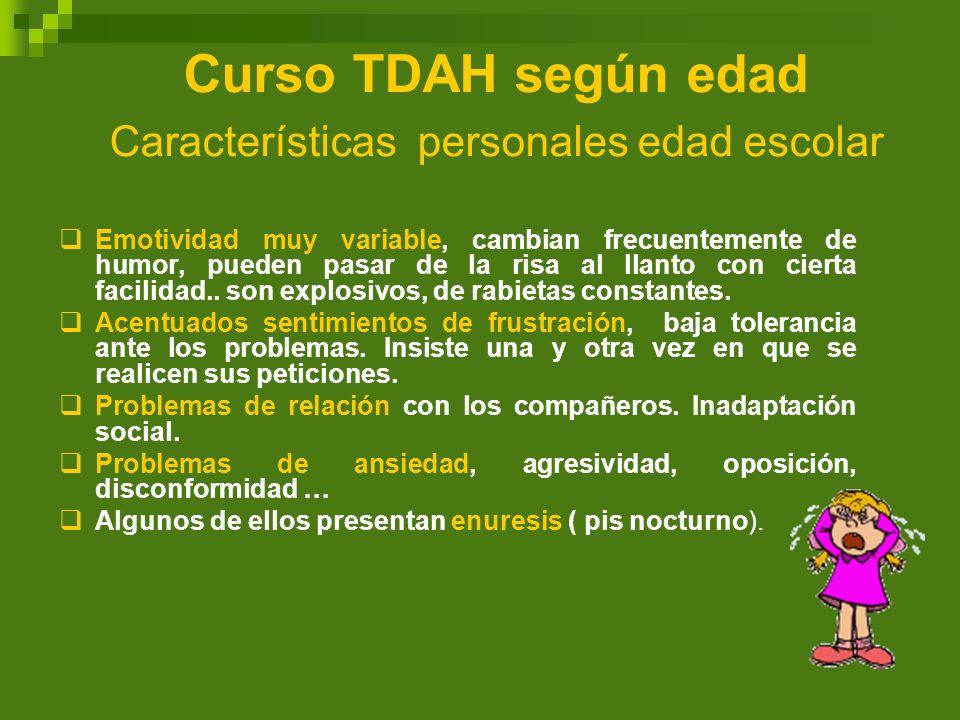Curso TDAH según edad Características personales edad escolar