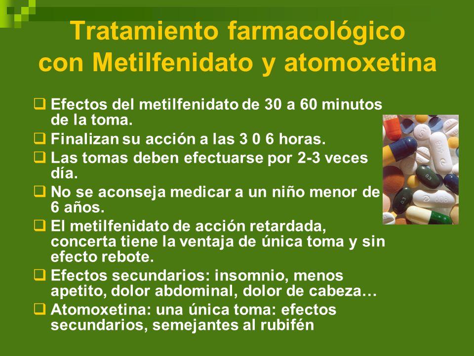 Tratamiento farmacológico con Metilfenidato y atomoxetina