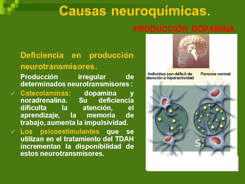 Causas neuroquímicas. PRODUCCIÓN DOPAMINA