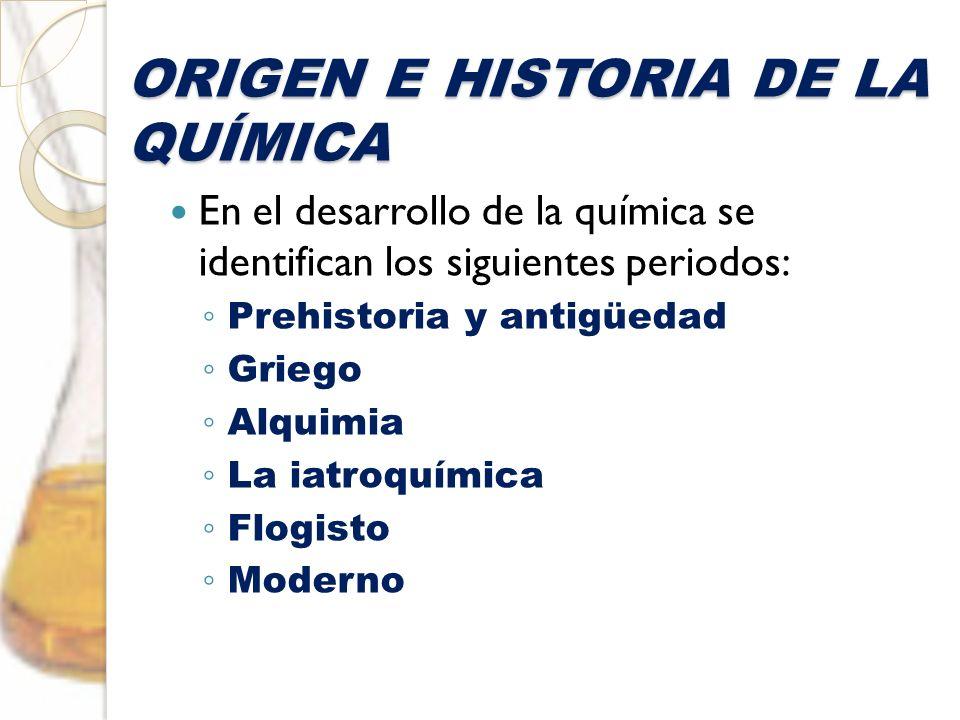 ORIGEN E HISTORIA DE LA QUÍMICA