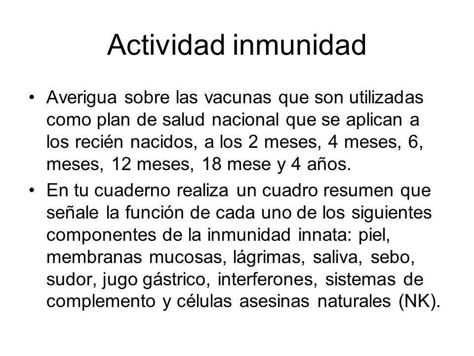 Actividad inmunidad