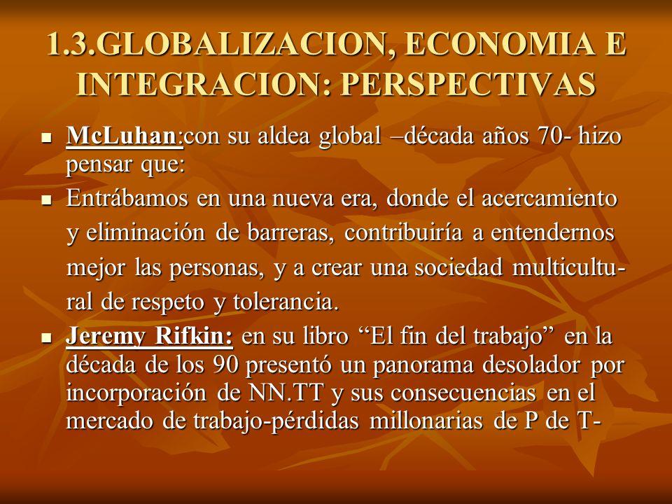1.3.GLOBALIZACION, ECONOMIA E INTEGRACION: PERSPECTIVAS