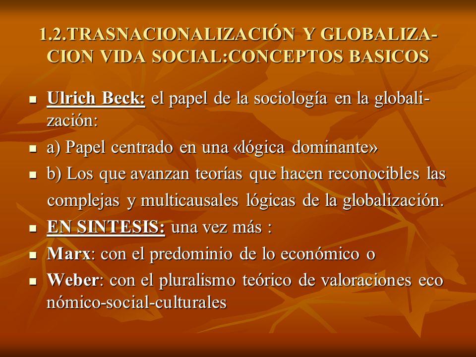 1.2.TRASNACIONALIZACIÓN Y GLOBALIZA- CION VIDA SOCIAL:CONCEPTOS BASICOS