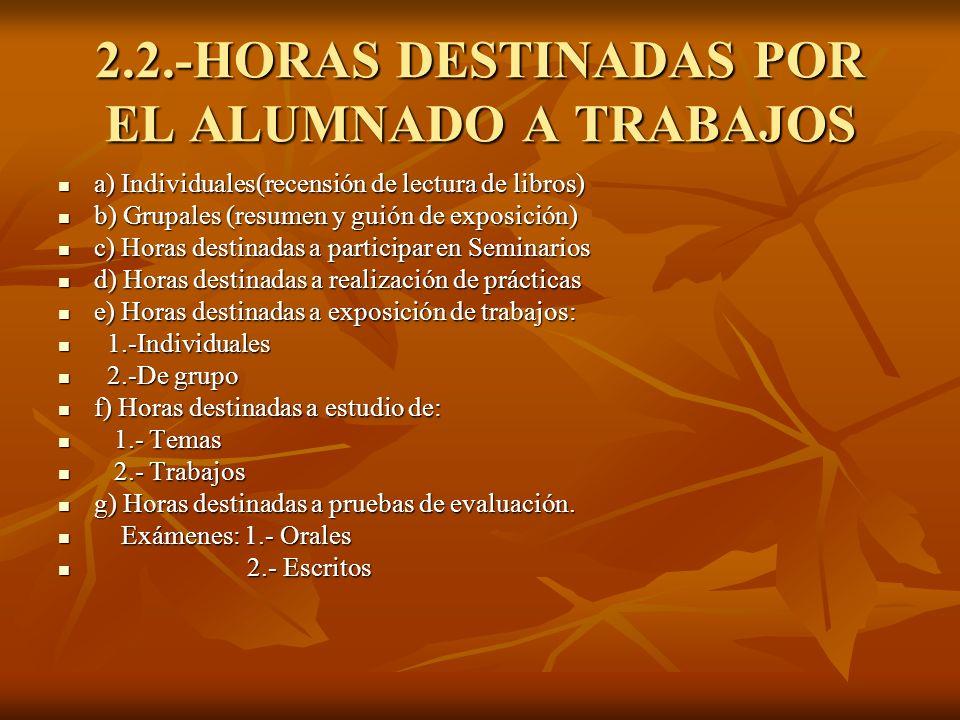 2.2.-HORAS DESTINADAS POR EL ALUMNADO A TRABAJOS