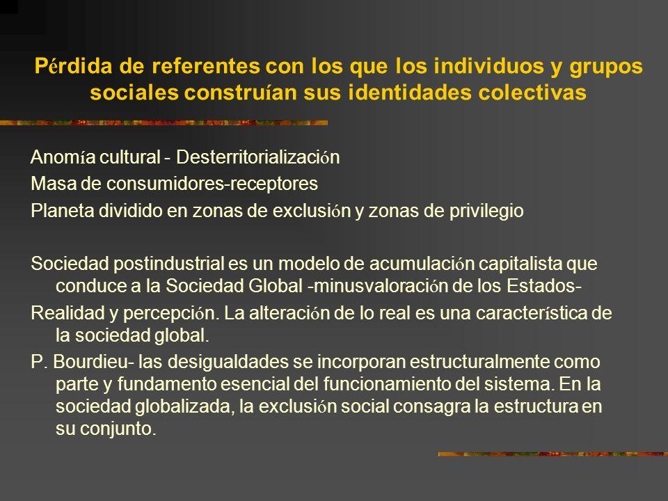 Pérdida de referentes con los que los individuos y grupos sociales construían sus identidades colectivas