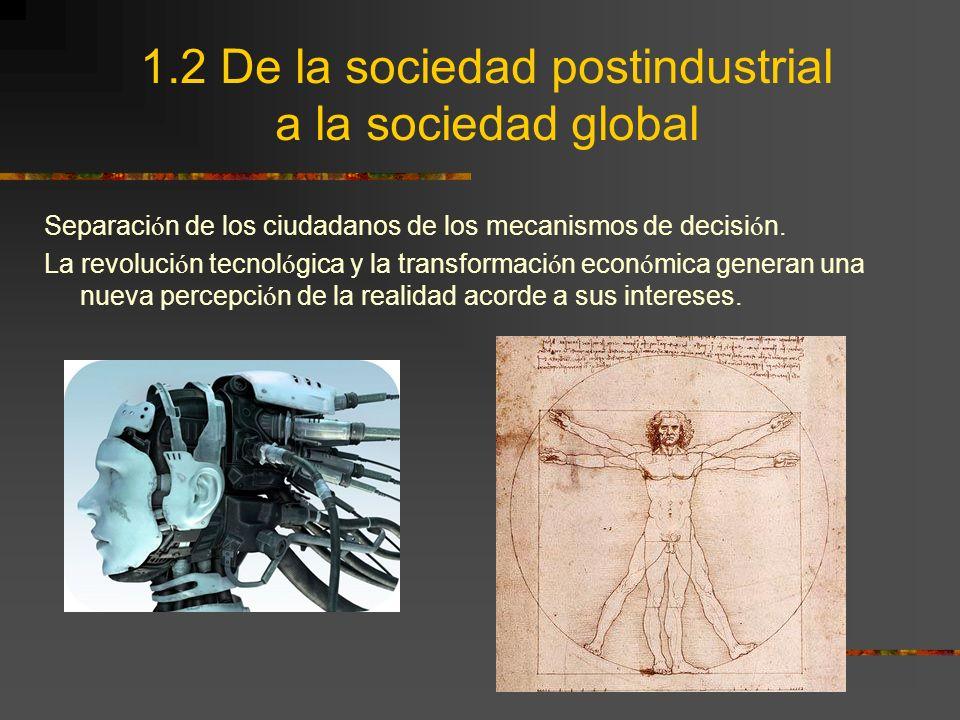 1.2 De la sociedad postindustrial a la sociedad global