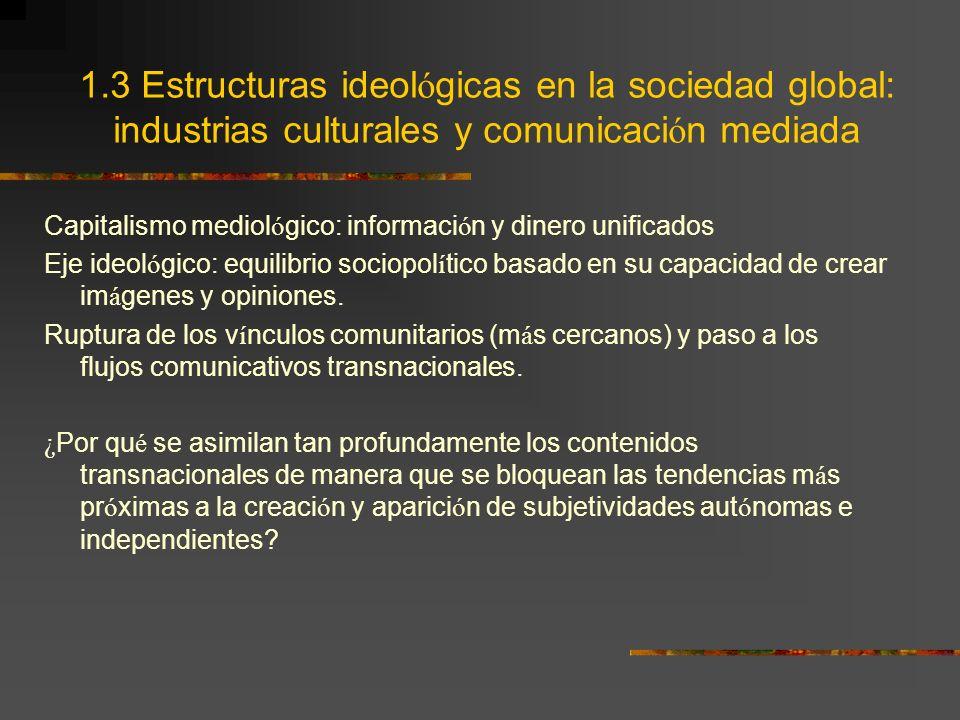 1.3 Estructuras ideológicas en la sociedad global: industrias culturales y comunicación mediada