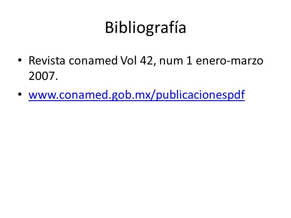 Bibliografía Revista conamed Vol 42, num 1 enero-marzo 2007.