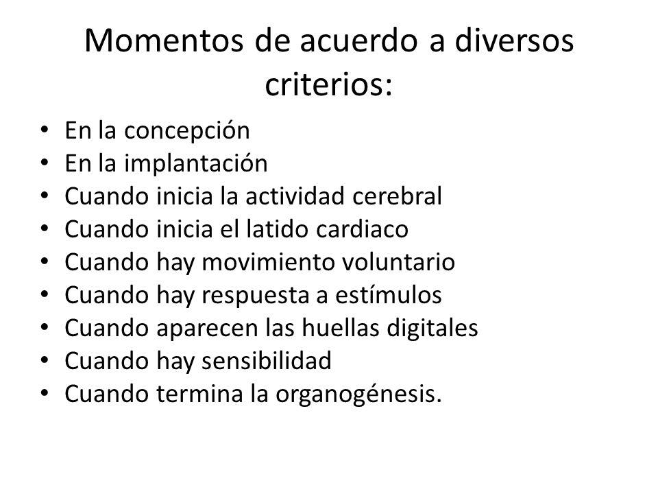 Momentos de acuerdo a diversos criterios: