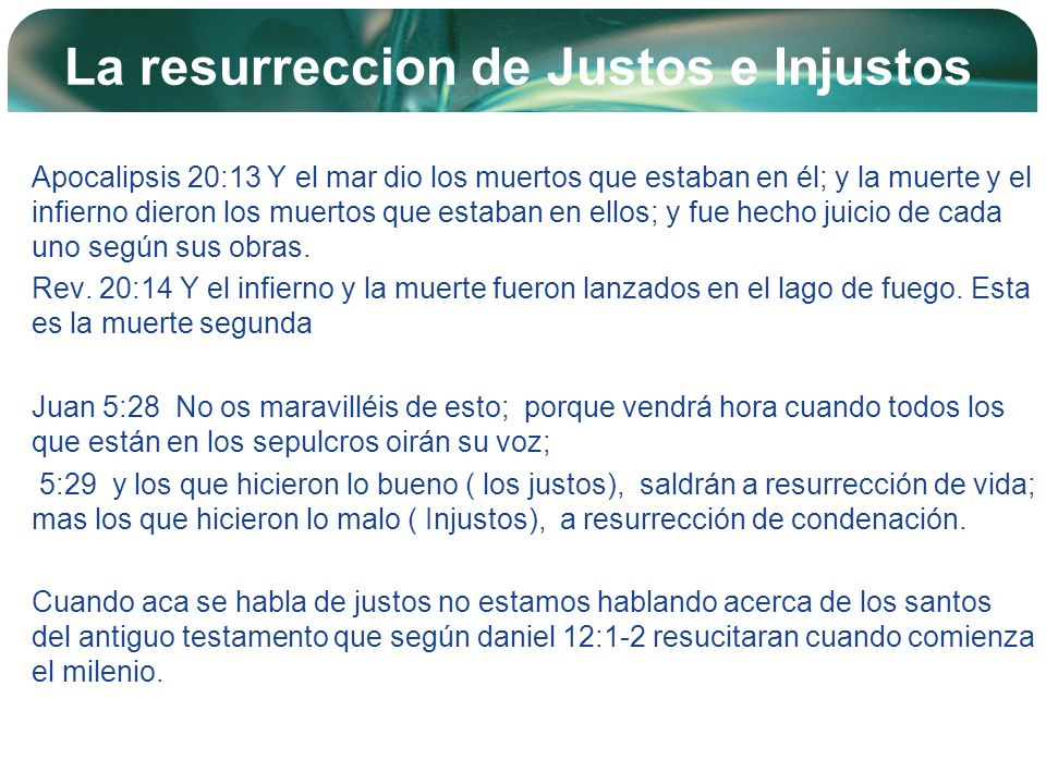 La resurreccion de Justos e Injustos