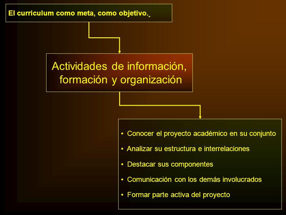 Actividades de información, formación y organización