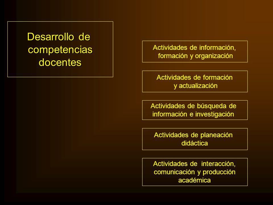 Desarrollo de competencias docentes Actividades de información,