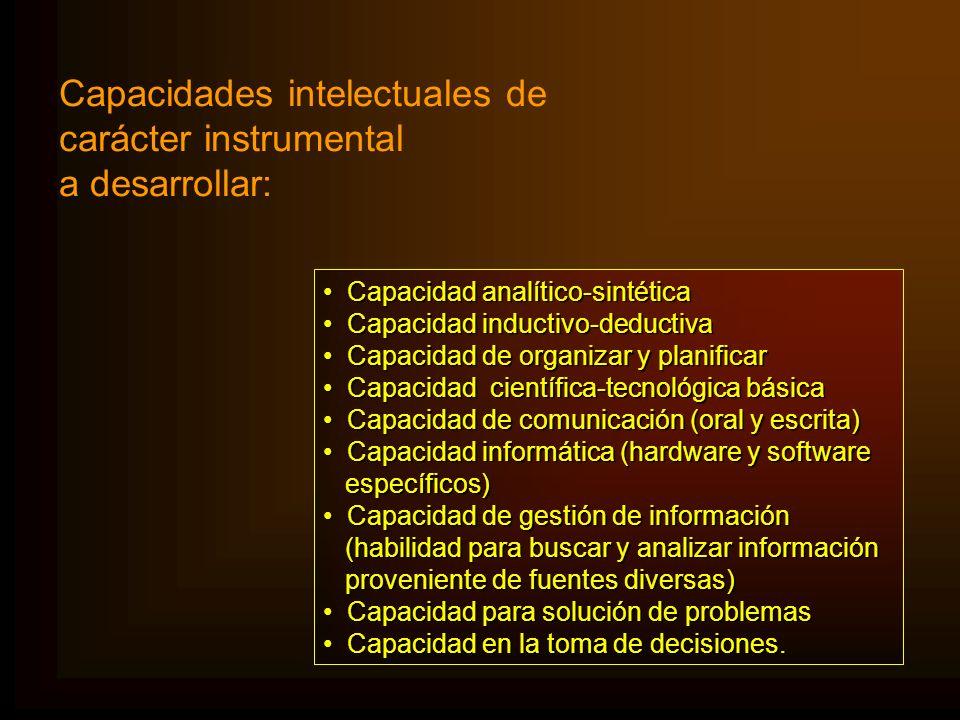 Capacidades intelectuales de carácter instrumental a desarrollar: