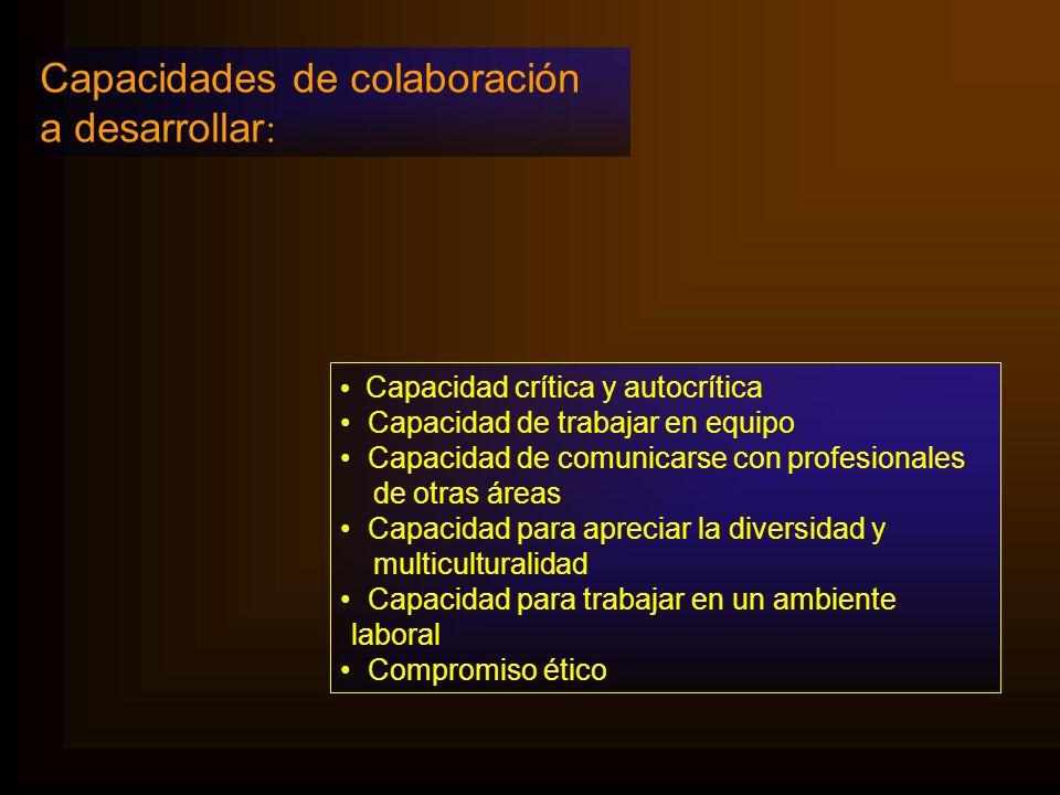 Capacidades de colaboración a desarrollar: