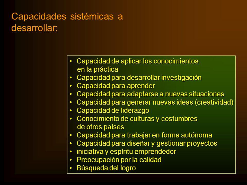 Capacidades sistémicas a desarrollar:
