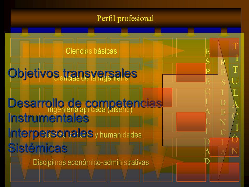 Objetivos transversales Desarrollo de competencias Instrumentales