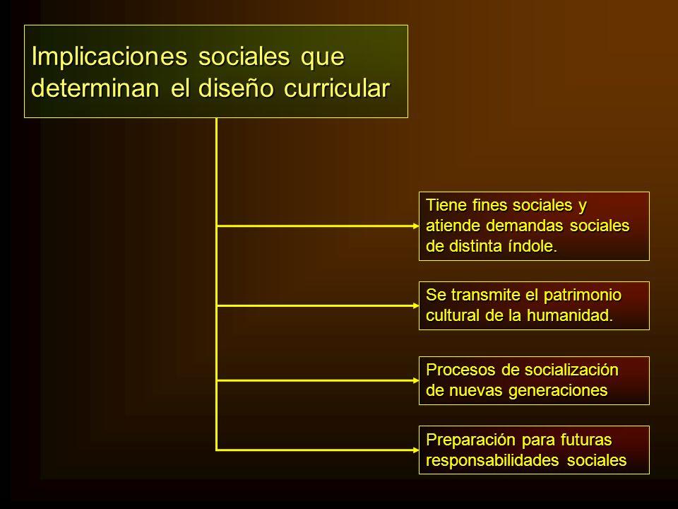 Implicaciones sociales que determinan el diseño curricular