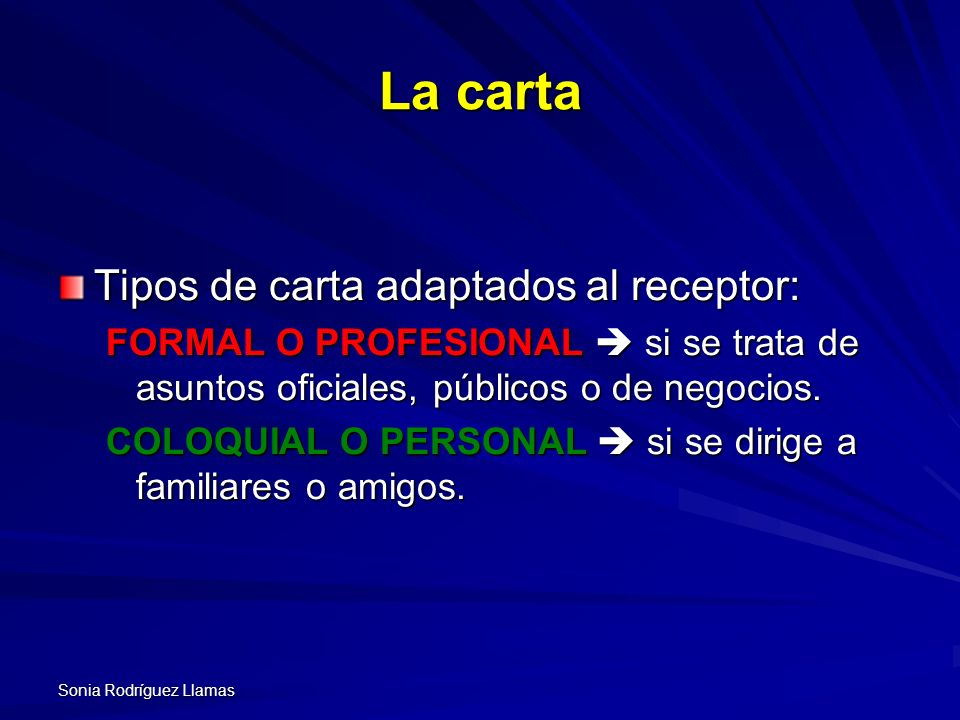 La carta Tipos de carta adaptados al receptor: