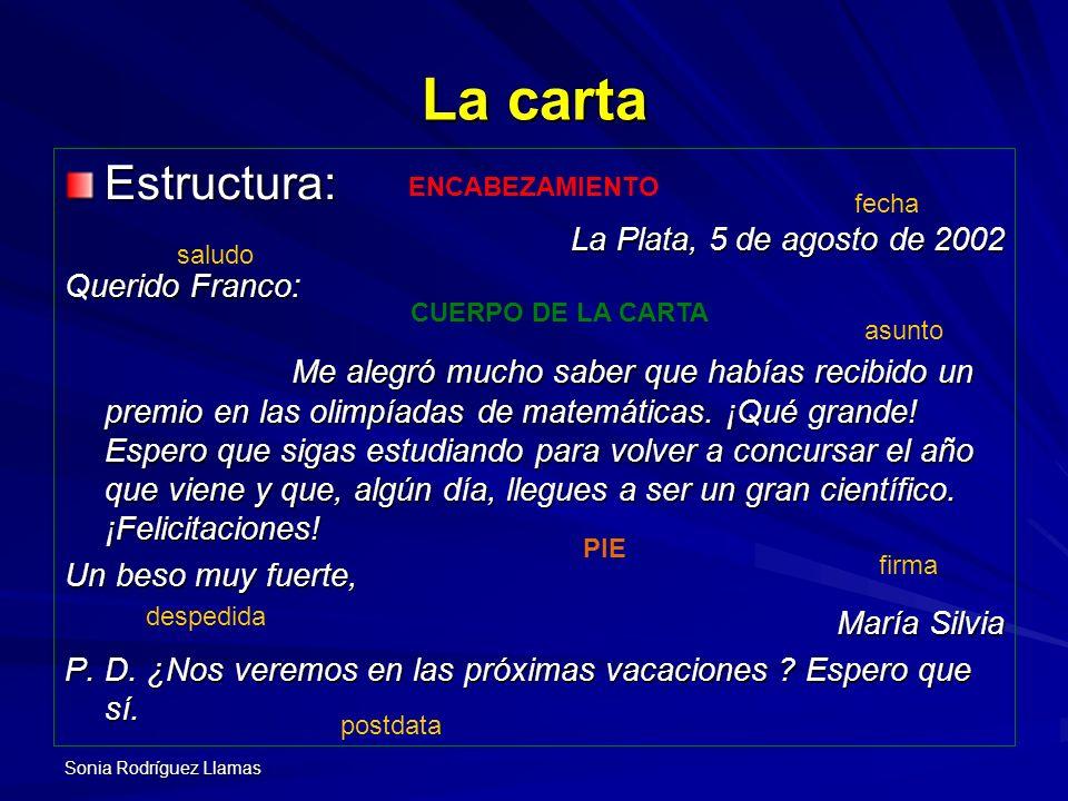 La carta Estructura: La Plata, 5 de agosto de 2002 Querido Franco: