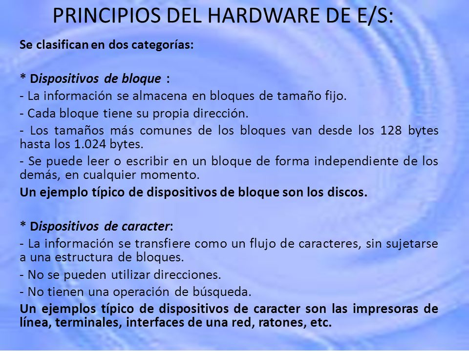 PRINCIPIOS DEL HARDWARE DE E/S: