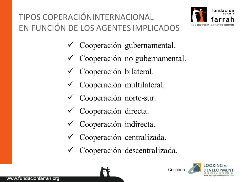 TIPOS COPERACIÓNINTERNACIONAL EN FUNCIÓN DE LOS AGENTES IMPLICADOS