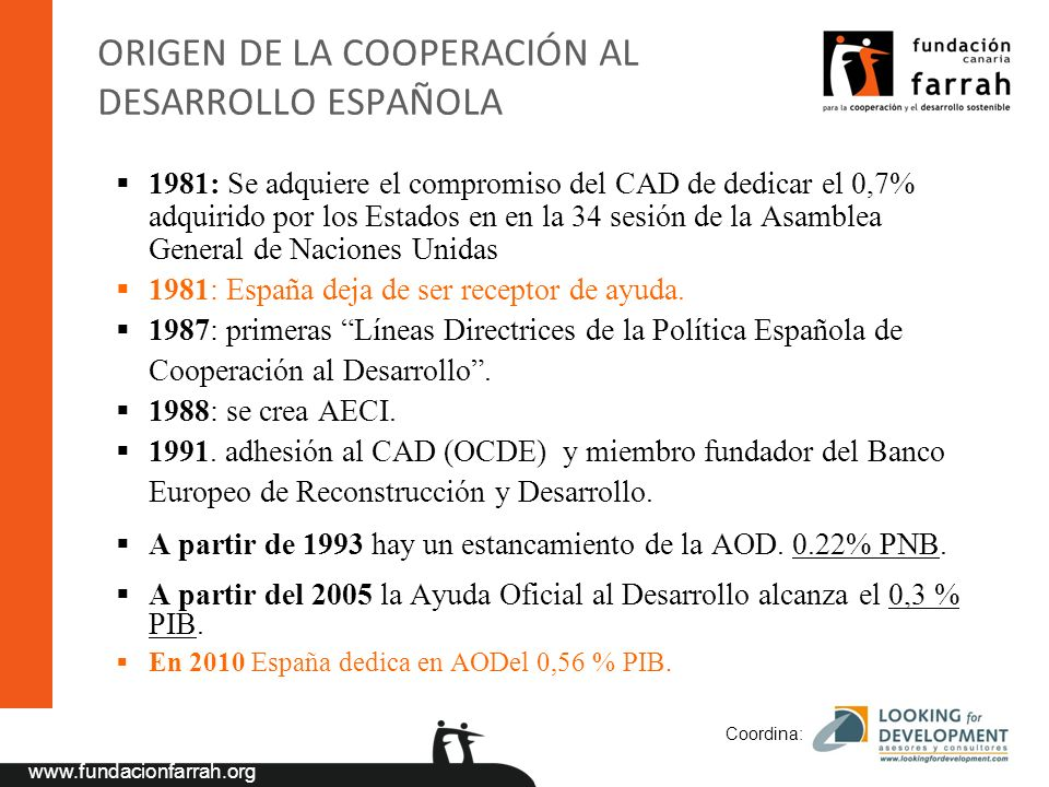 ORIGEN DE LA COOPERACIÓN AL DESARROLLO ESPAÑOLA
