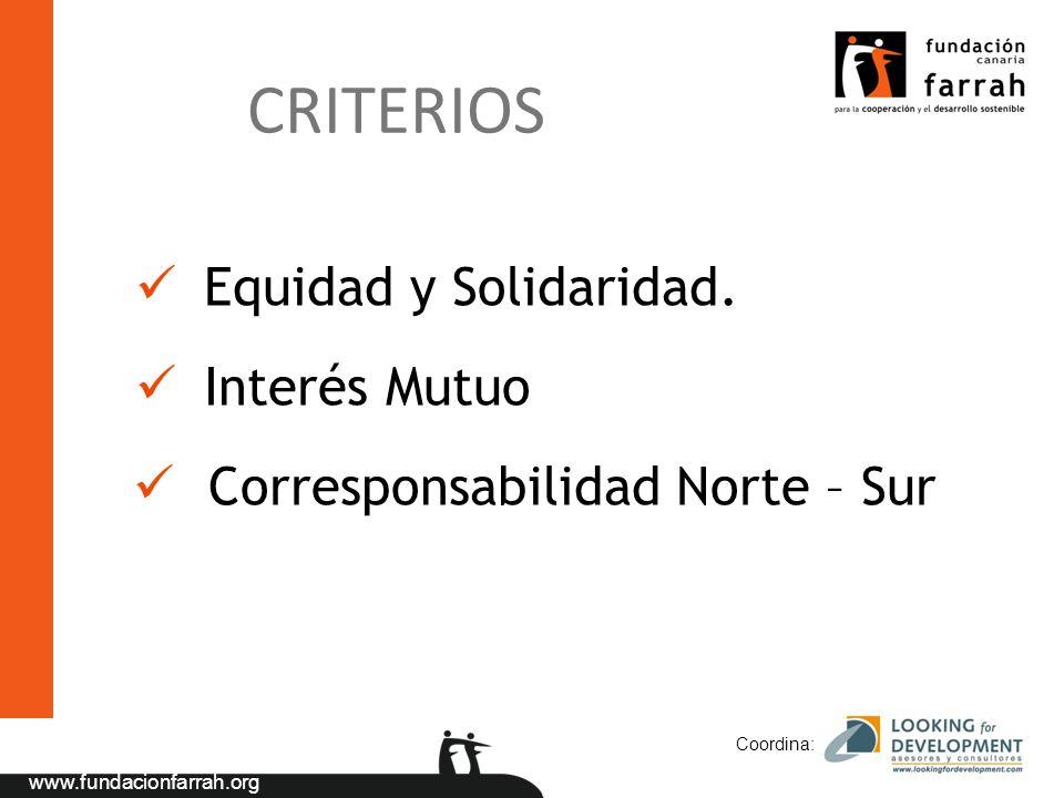 CRITERIOS Equidad y Solidaridad. Interés Mutuo