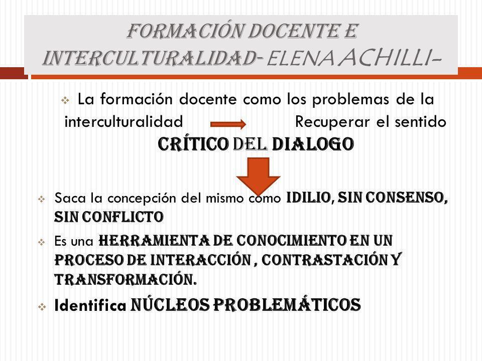 FORMACIÓN DOCENTE E INTERCULTURALIDAD- ELENA ACHILLI-